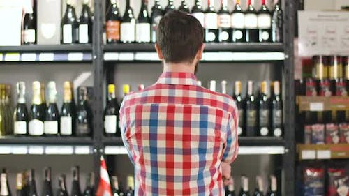 Back View of Young Bearded Caucasian Man Examining Shelves with Wine Bottles, Sommelier Selecting