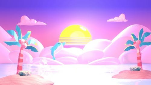 Pink Paradise and Dolphin