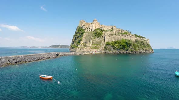 Thumbnail for Medieval Aragonese Castle on Volcanic Island Turquois Gulf of Naples
