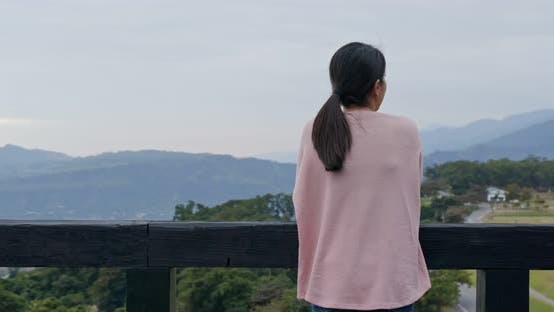 Thumbnail for Woman enjoy the view at countryside