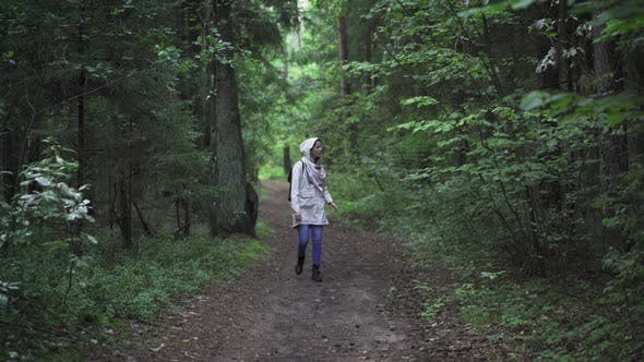 Thumbnail for Traveler Hiking On Forest Path