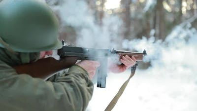Slow Motion Soldier Dressed As USA Infantry Soldier Of World War II Aiming And Shooting From