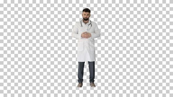 Confident turk doctor standing and looking to camera, Alpha Channel