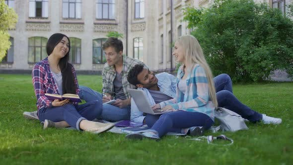 Thumbnail for Two Mixed-Race Couples of Student Having Fun and Laughing, Friends Communicating