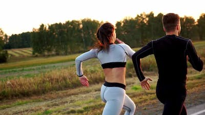 Healthy Lifestyle Woman and Man Running