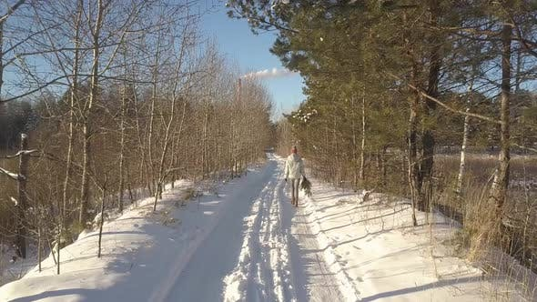 Thumbnail for Upper Backside Woman with Pine Walks Along Winter Forest