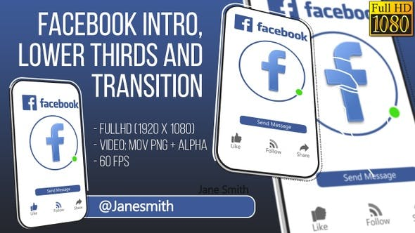 Thumbnail for Facebook Intro and Lowerthird FullHD (Video)