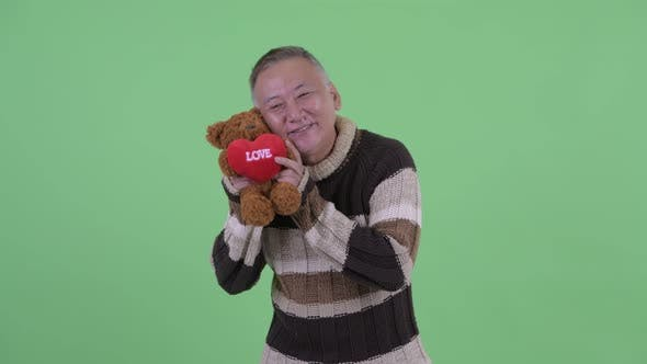 Thumbnail for Happy Mature Japanese Man Giving Teddy Bear