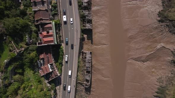 Aerial Shot Flying Over Derelict Harbour