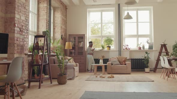 Woman in Cozy Living Room