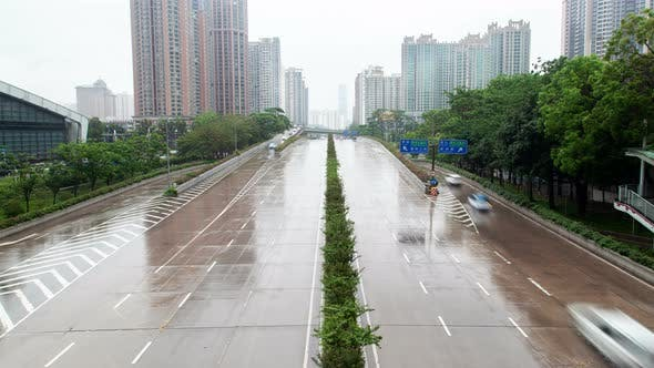 Thumbnail for Timelapse Shenzhen Cars Drive Along Futian District Road