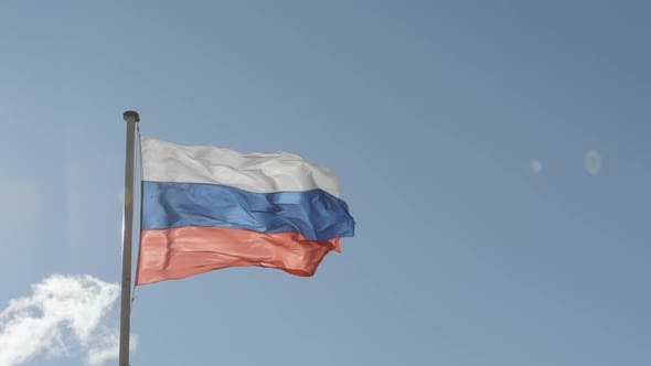 Thumbnail for State flag of Russian Federation on blue sky background