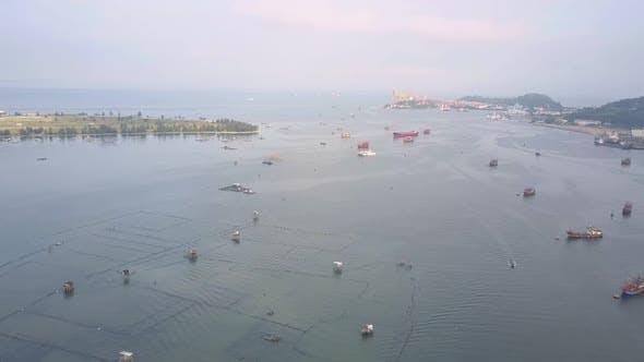 Thumbnail for Motion Above Fishing Nets Near Boats Drifting on Sea