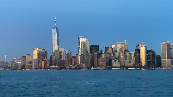 Thumbnail for Approaching Downtown Manhattan at Twilight By Boat, NY, USA