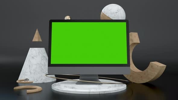 Clean Green Screen 3d Computer Monitor for e Business or Gaming App Art Mockup