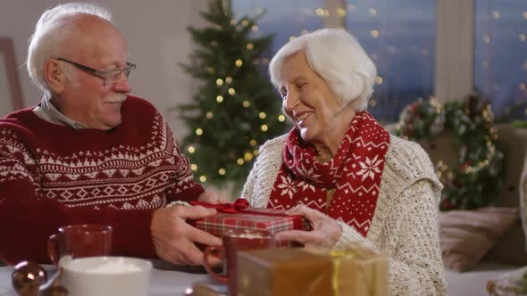 Thumbnail for Elderly Man Giving Christmas Present to Senior Woman