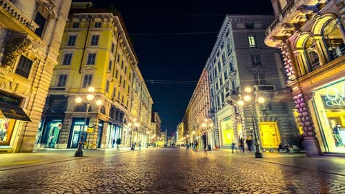 Time lapse People in Milan Street of via Dante