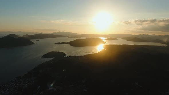 Thumbnail for Beautiful Sunset Over Sea and Island, Palawan Philippines.