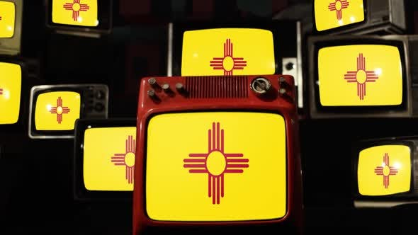 Thumbnail for The flag of the U.S. state of New Mexico and Retro TVs.