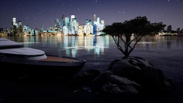 Thumbnail for Yacht Approaching the Shore at Night