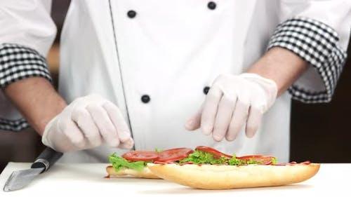 Chef Making Sandwich, Vegetables.