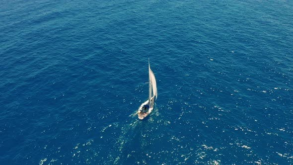 Thumbnail for Aerial View. Beautiful View of Yacht Saile in Open Sea.