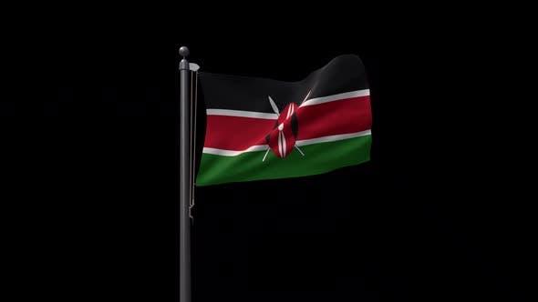 Kenya Flag On Flagpole With Alpha Channel