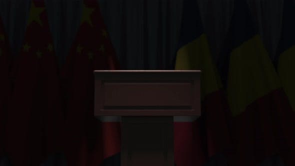 Flags of Romania and China at International Meeting