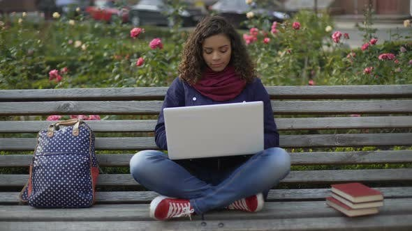 Thumbnail for Charming Biracial Woman Sitting on Bench Outdoors, Working on Laptop, Freelancer