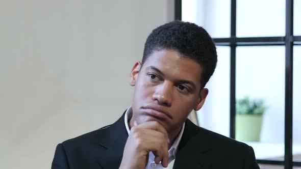 Thumbnail for Portrait of Thinking Pensive Black Businessman