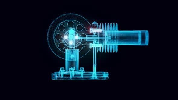 Miniatur-Horizontal-Stirlingmotor-Hologramm rotierendes