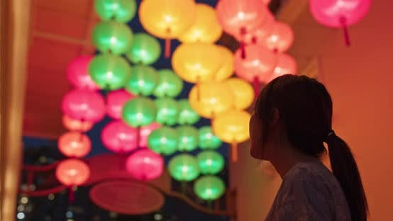 Thumbnail for Woman look at the chinese lantern at night
