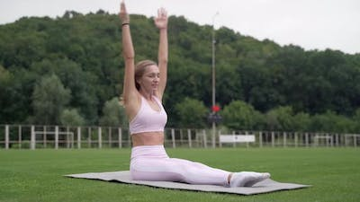 Healthy lifestyle concept. Woman doing exercises