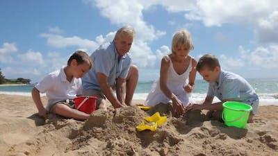 Grandparents play with grandchildren at beach