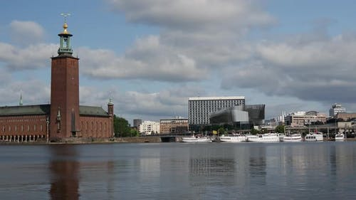 Stockholm City Hall building and the Stockholm Waterfront Congress Hall