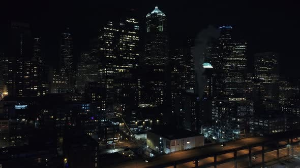 Thumbnail for Dark City Skyline in Seattle Downtown in Washington