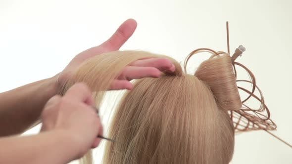 Thumbnail for Gathered Hair. Hairstyle for Long White Hair. White. Close Up