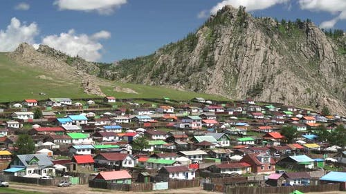 A Traditional Colorful Houses in Mongolian Topography