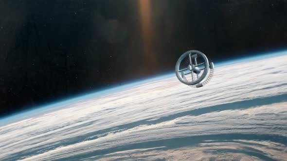Thumbnail for Rotating Space Station In Orbit Of Planet Earth