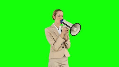Bossy Businesswoman Shouting Through Megaphone 1