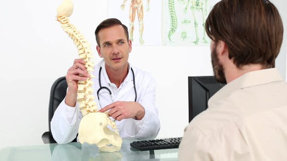 Thumbnail for Doctor Showing His Patient A Model Of A Spine