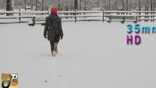 Thumbnail for Woman Walking In The Snow 03