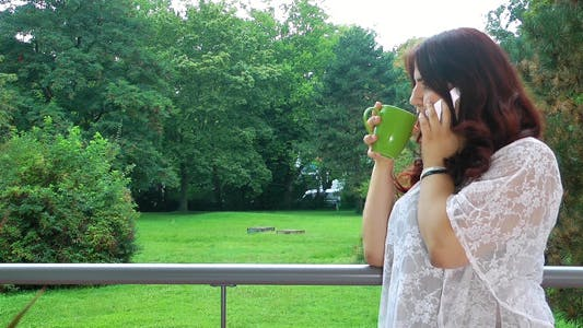 Thumbnail for Young Girl Talking with Cellphone and Nature