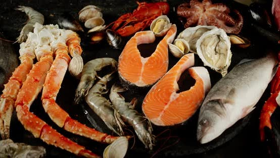 Thumbnail for Different Types of Seafood Rotate Slowly.