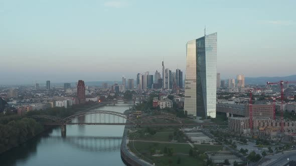 Thumbnail for European Metropolitan Area Big City Frankfurt Am Main, Germany with Central Bank Tower in Morning