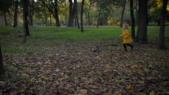 Thumbnail for Happy Smiling Girl Have Fun Running in Autumn Park During Fall Foliage on Background of Trees