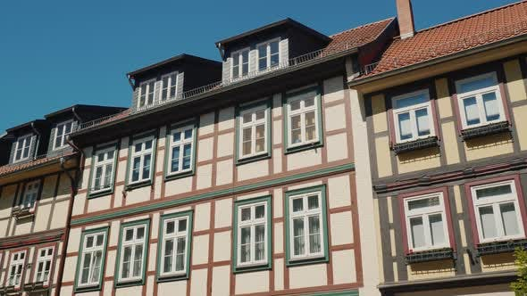 Thumbnail for Recognizable Ancient Style of Construction - Facades of Typical German Houses. Steadicam Shot