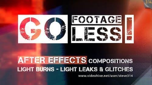 Go Footageless! - Light Burns & Glitch AE comps