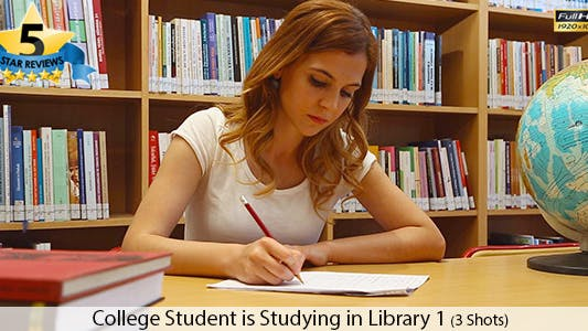 Thumbnail for College Student is Studying in Library