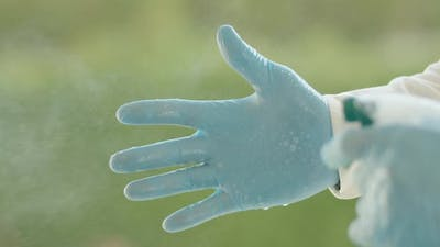 Disinfecting Rubber Gloves